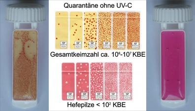Keimzahlbestimmung mit ausgeschaltetem UV-C Klärer